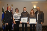 NPD Chief Constable Paul Burkart, Nelson Police Board Chair and Mayor Deb Kozak and Board Director Am Naqvi (far right) present Nelson Restorative Justice Gerry Sobie and Anita Werner with Nelson Police Board Commendation.