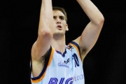 Sean Denison goes sky high for a jump shot during a Bundesliga game.