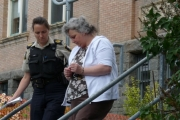 Kimberly Noyes leaves the Rossland courthouse on the opening day of her trial; Photo, Mona Mattei