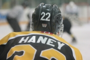 Dylan Haney cracked the 20-goal barrier with a hat-trick for the Bruins Sunday.