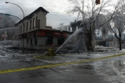The Grand Forks Hotel was one of two targets for suspected arson last night; Photo, Mona Mattei