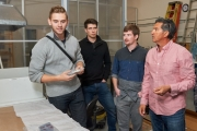 At the MIDAS lab, engineering and business students from the University of British Columbia Okanagan learn and improve the art of crystal pulling with Don Freschi, Chief Executive Officer of Fenix Advanced Materials. Photo credit: Lawrence Wright.