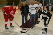 The Selkirk College Saints hosted Alumni Night on Friday at the Castlegar Recreation Complex. Former Saints player John Horcoff (1971-73) and Castlegar Mayor Lawrence Chernoff took part in the ceremonial faceoff.