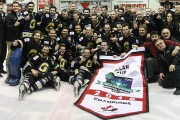 Nelson Minor Hockey grad Alex MacLeod (middle row third from left) and his Bentley teammates were all smiles after winning the Allan Cup Saturday in Steinbech, Manitoba. — Photo courtesy Hockey Canada