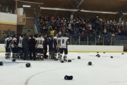 Wrangler players celebrated the first KIJHL franchise in team history in front of the home fans Thursday night in 100 Mile House. — Photo courtesy Twitter