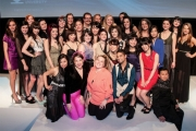 Three Kwantlen Polytechnic University Fashion Design and Technology from LVR in Nelson, Rheanne Segstro and Emma Walker (center second row in middle) and Jenna Renwick (back row center) were part of the year-end fashion show at the River Rock Casino. — photos courtesy Chris Pike