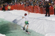 The overflow crowd was treated to a few spills during the Big Splash Slush Cup at Whitewater Ski Resort. — Bruce Fuhr photos