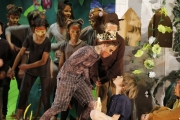 King Louie (Mason MacKay) addresses Mowgli (Jamie Spencer) during Wednesday performance of The Jungle Book at Hume Elementary
