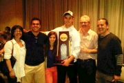 Isaac MacLeod, holding the NCAA trophy, stands with family (from left) mother Deb, brother Alex, sister Rebecca, father Allan and uncle Wayne Naka. — photo courtesy Isaac MacLeod Facebook page