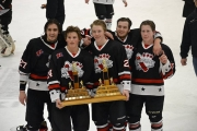 Sawyer Hunt of Nelson (second from left holding trophy) found a home on Kimberley's KIJHL champions. — Submitted photo