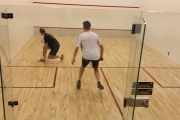 Joel Casey of Vernon is up against Nelson's Don Mcdonald in Men's A action at the No-Frills Squash Tournament. — Submitted photo