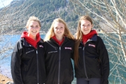 From left, Stephanie McAuley (Trail 1997), Kimberley Huisman (Fernie 1997) and Merissa Dawson (Nelson 1998) have been selected to the Female U18 BC Cup. Missing, Emma Hare, Nelson. — Submitted photo