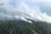 The Slocan Park wildfire continues to burn with zero containment. — Photo courtesy Southeast Fire Centre