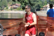Robert Armstrong of Creston checks his watch before setting out on the 10 kilometer run during Sunday's Cyswogn'Fun Triathlon. — Bruce Fuhr photo
