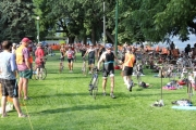 The transition area was a busy place as teams passed the baton during Sunday's Cyswog'n Fun Triathlon. — Bruce Fuhr photo