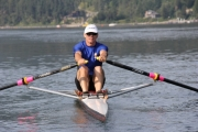 Pat Desjardins, a native of Nelson who now lives in Victoria, won three gold medals at Saturday's Nelson Sprints Regatta. — Bruce Fuhr photo