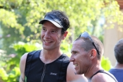 Men's winner Dallas Cain of Rossland (left) talks with Scott Tremblay after Sunday's Nelson Cyswogn'Fun Triathlon at Lakeside Park. — Bruce Fuhr photo