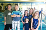 The swimmers include, back row, L-R, Sam Matthew, Matthew Holitzki, Madeline Holitzki and Elissa Centrone. Front, Kalli Badry and Jaylen Rushton. Missing from photo, Morgan Robertson-Weir, Maia Robertson-Weir and Logan Wright. — Submitted photo