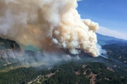 The Wood Lake fire near Harrison Lake is now estimated at 1325 hectares. — Photo courtesy BC Wildfire Service