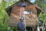Local resident, Marlene Hebert, puts up bat-houses on her shed.— Submitted photo