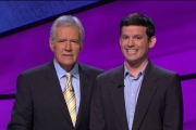 Matthew Church of Prince George is show with Jeopardy host Alex Trebek. — photo courtesy Jeopardy Productions Inc.