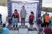 Finn Megale (far left) accepts his silver medals following a successful showing at the Western Canada Snowboard Cross Series in Lake Louise. — Chris Quiring photo