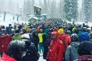 The lineup for the Summit Chair was a little bit long thanks to skiers taking advantage of a snow day Monday. — Submitted photo