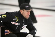 Jim Cotter of Vernon, along with third Ryan Kuhn, second Tyrel Griffiths and lead Rick Sawatsky, have advanced into the Page Playoff as the top seeded team after edging out Michael Johnson of New Westminster 5-4 Thursday at the Nelson Curling Club. — Bruce Fuhr photo, The Nelson Daily