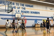 Bomber center Leo Weiss shoots from long range during Tuesday's High School Boy's game at the Hangar. — The Nelson Daily photo