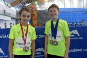 Matteo Faraguna (left) and Matti Erickson, seen here with medals, were impressive during the weekend Harry Jerome meet in Richmond. — Submitted photo