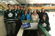 Members of the Nelson and District Credit Union and Nelson Leafs invite hockey fans to exciting KIJHL action Friday at the NDCC Arena — as well as the NDCU Puck-4-Bucks puck toss. — Photo courtesy NDCU