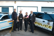 Members of Nelson Police Department and RCMP are all in on Pink Shirt Day. From left, RCMP Sgt. Monty Taylor, NPD Cst. Brian Weber, NPD Cst. Lisa Schmidtke and NPD Chief Constable Paul Burkart. — Submitted photo