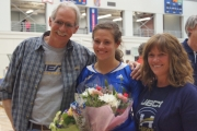 Kendra Wayling, with parents Rand and Christine, was recently honoured during Senior's Night at UBC/Okanagan. — Photo courtesy UBC/O Athletics