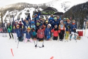 The Whitewater Nancy Greene squad stopped to take a team photo during a recent race at Whitewater Ski Resort. — Submitted photo