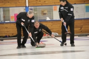 From left, Fruitvale lead Bill King, third Fred Thomson of Nelson and second Don Freschi of Trail failed to make it back to the BC Senior Championships, losing two straight to Ken McHargue Sunday at the Nelson Curling Club. — Bruce Fuhr, The Nelson Daily