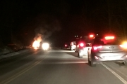 Traffic was halted Tuesday after a car caught fire north of Nelson on Highway 3A. — Submitted photo