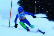 Whitewater skier Henry Leishman glides around a gate during a Teck Slalom race. — Submitted photo