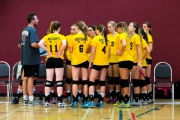 Coach Herb Tepper calls a time out to discuss strategy for Team Kootenay in Girls Volleyball during the Nanaimo BC Summer Games. — Photo courtesy Jeff Peebles Photography