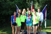 Members of the Nelson Kayak and Canoe Club include, back row, L-R,  Heather Potkins, Alena Hammer (coach), Anna Milde, Noah Malefant, Carson VanHorne and coach Thomas Miller. Front, Tess Nuttall, Erica Potkins, Bailey Stefani and Tessa Timmermans. — Photo Submitted