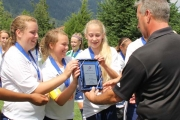 Nelson Selects, accepting from left, Amanda Creak, Michaela Anderson, Elisabeth Huiberts, not only won the Bronze Medal but also the Fair Play Award Sunday at the BC Soccer U14 Girl's Provincial B Cup. — The Nelson Daily photo
