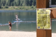 Some people could not help but ignore the RDCK swim advisory notice as temperatures reached the mid-30s Sunday. — The Nelson Daily photo