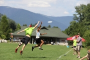 Sole Survivor got the best of Nelson Home Grown (green) during Sunday's Final of the Disc Break Ultimate tournament at Lakeside. — Bruce Fuhr photo