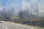 The Gilpin Wildfire burns close to Highway 3 a few kilometers east of Grand Forks. — Photo courtesy Rob Ostrikoff