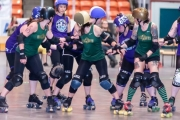 The Nelson Killjoys and Dam City Rollers of Castlegar battle it out for bragging rights at the NDCC Arena. — Photo submitted