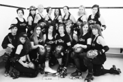 The Killjoys team includes, coach K. Boss, back row, Sylvest, Meg Ablast, Ink Sling-Her, Kerowhack, Lil Miss Hell 'N Back, D.O.Ava, Goldie Gunshow and Oso Agro. Front, Buttermilk, McWrath, Skid Licious, Lil Squirt, Concrete Cindy, Courtney Shove and Slay Guevara. — Submitted photo