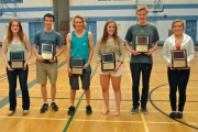 FPictured from the left, Top Scholar Athletes, Erica Austen and Braeden Zarikoff; Most Outstanding Athlete of the Year, Brandon Sagal and Grade 11 Tara Yowek; and Best All Around Athlete, Ethan Perkins and Grade 11 Abbie Bourchier-Willans. — Photo courtesy LVR Athletic Department