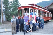 Staff of the Nelson and District Credit Union and the Streetcar Crew set up plans for Free Rides on Streetcar #23 and Admission to the Trolley Barn Museum. — Submitted photo