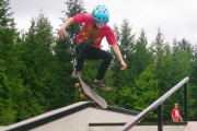 The Rosemont Skatepark was alive Thursday as 12-year-old Kristian from Creston performs a kickflip down six stairs. — Photo courtesy Matt Leblanc
