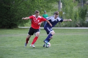 Bryce Twible (blue) and the rest of the U18 Boys lost 4-1 Saturday to Columbia Valley. — The Nelson Daily file photo