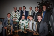 The Leaf award winners included, back row, L-R, Dale Howell, coach Mario DiBella, Devin Allen, Brent Headon, coach Sean Dooley and Zach Morey. Front, Sawyer Hunt, Sam Weber, Andy Fitzpatrick and Jack Karran. Missing from photo, Aigne McGeady-Bruce. — Photo courtesy Nelson Leafs Hockey Club